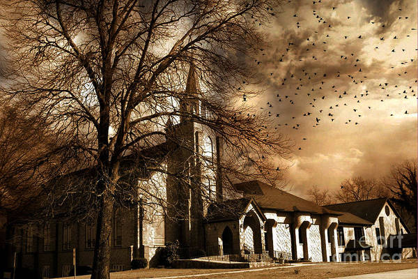 Surreal Gothic Old Church Stormy Sepia Skies - Surreal Church Autumn Fall Flying Birds Poster