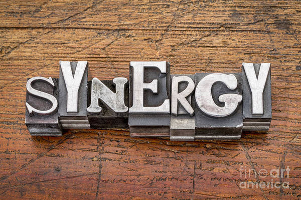 Synergy Word In Metal Type Poster