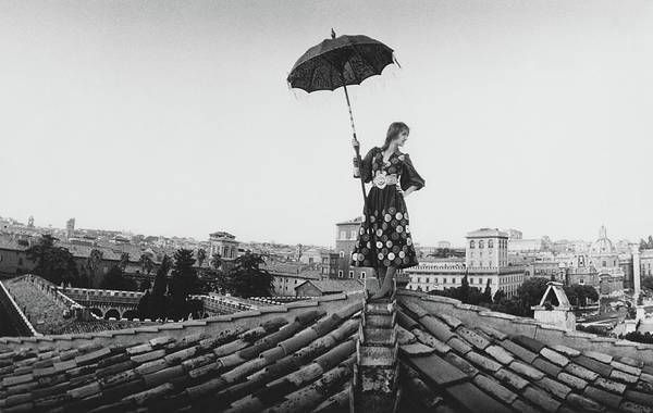 Talitha Getty Walking On Rooftop In Rome Poster