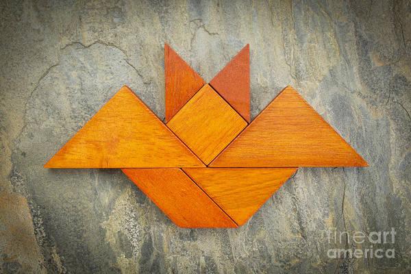 Tangram Bat Abstract Poster