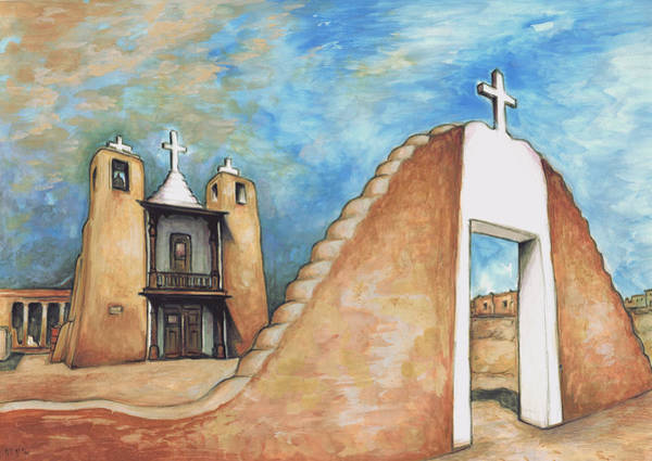 Taos Pueblo New Mexico - Watercolor Art Painting Poster
