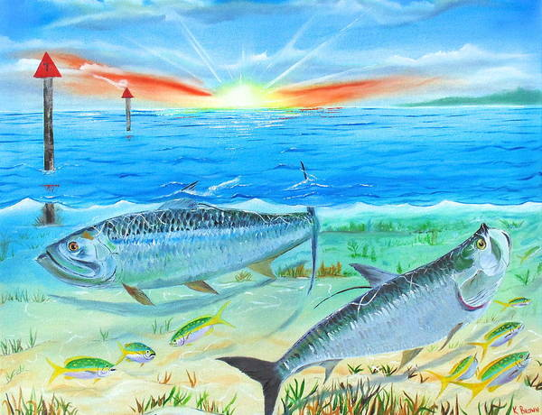 Tarpon At Sunrise Poster