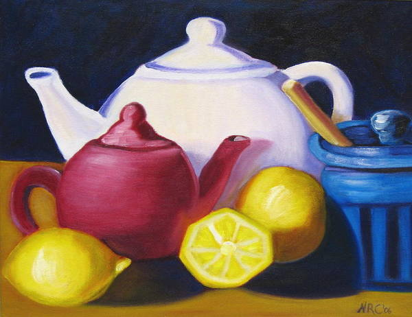 Teapots In Primary Colors Poster