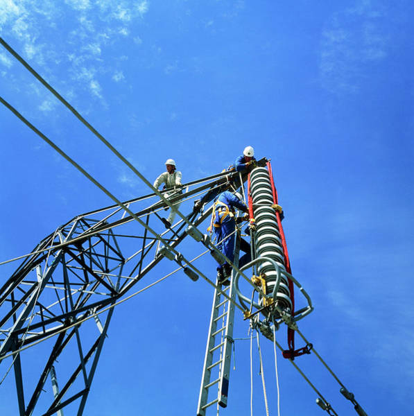 Technicians Servicing A Power Line In Training Poster