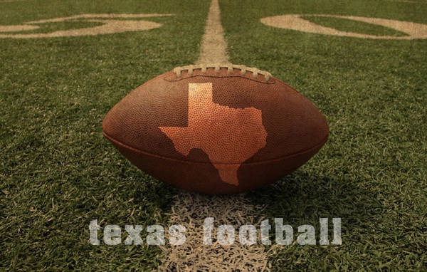 Texas Football Art - Leather State Emblem On Marked Field Poster