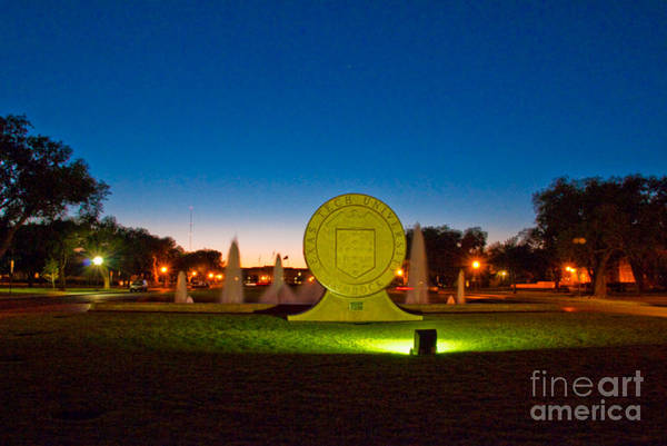 Poster featuring the photograph Texas Tech Seal At Night by Mae Wertz