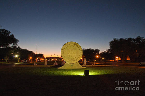 Poster featuring the photograph Texas Tech University Seal At Sundown Second Image by Mae Wertz