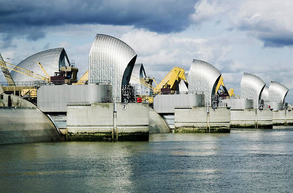 Thames Flood Barrier With Gates Closed Poster