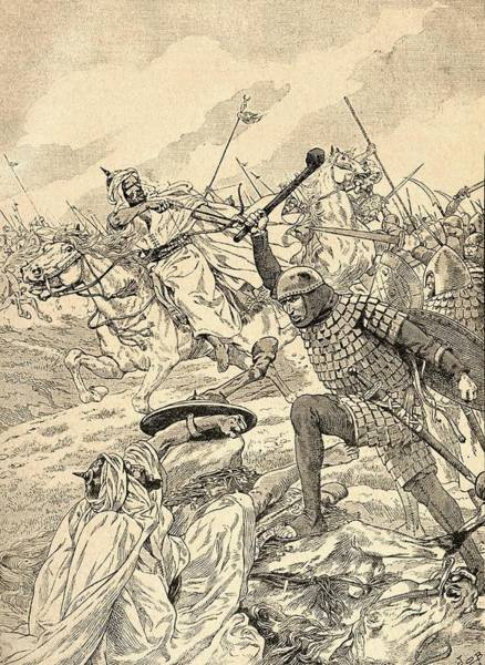 The Battle Of Tours Aka The Battle Of Poitiers, 732.   From Agenda Buvard Du Bon Marche Published Poster