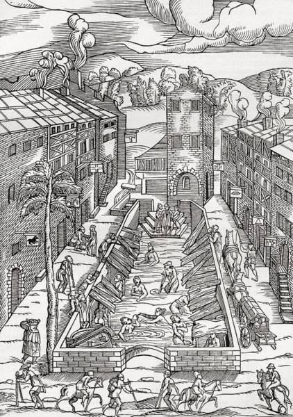 The Common Spa Of The Poor And Infirm In Plombiere, France.  After The Woodcut By Thomas Guinta De Poster