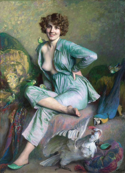 Poster featuring the painting The Familiar Birds by Emile Friant