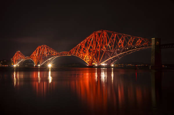 Poster featuring the photograph The Forth Bridge By Night by Ross G Strachan