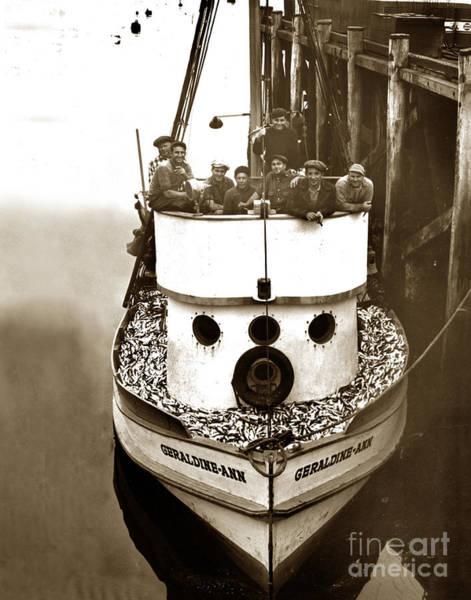 The Happy Crew Of The Fishing Boat  Geraldine- Ann Monterey California 1939 Poster