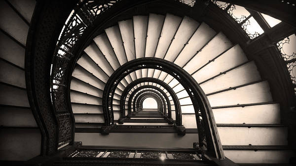 The Rookery Staircase In Sepia Tone Poster