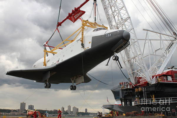 The Space Shuttle Lifted Up To The Intrepid Poster