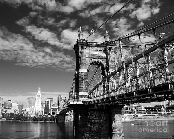 Poster featuring the photograph The Suspension Bridge Bw by Mel Steinhauer