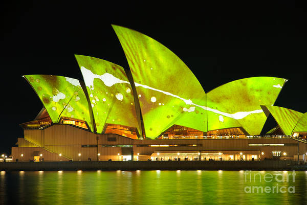 The Sydney Opera House In Vivid Green Poster