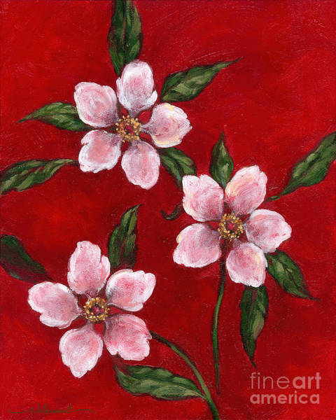 Three Blossoms On Red Poster