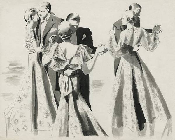 Three Couples Dancing Poster