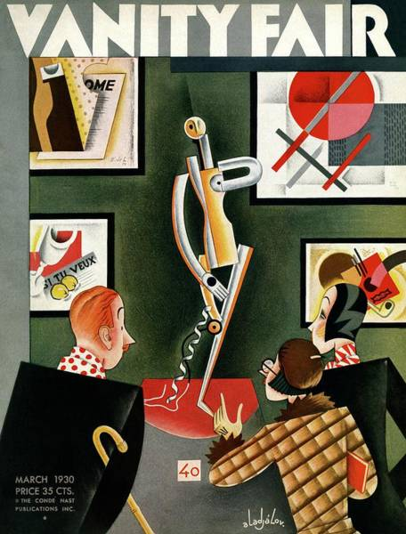 Three Figures Looking At A Modern Sculpture Poster