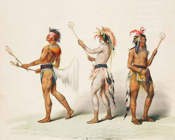 Three Indians Playing Lacrosse Poster