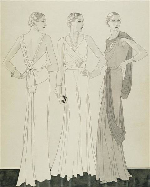 Three Women Wearing Evening Dresses By Maggy Poster