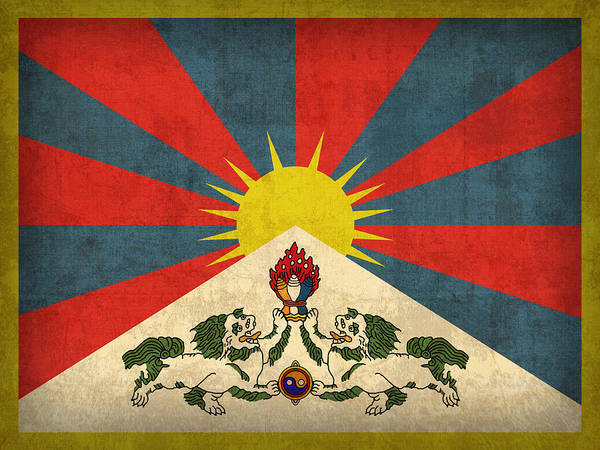 Tibet Flag Vintage Distressed Finish Poster