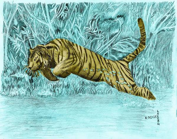 Tiger Leaping River Poster