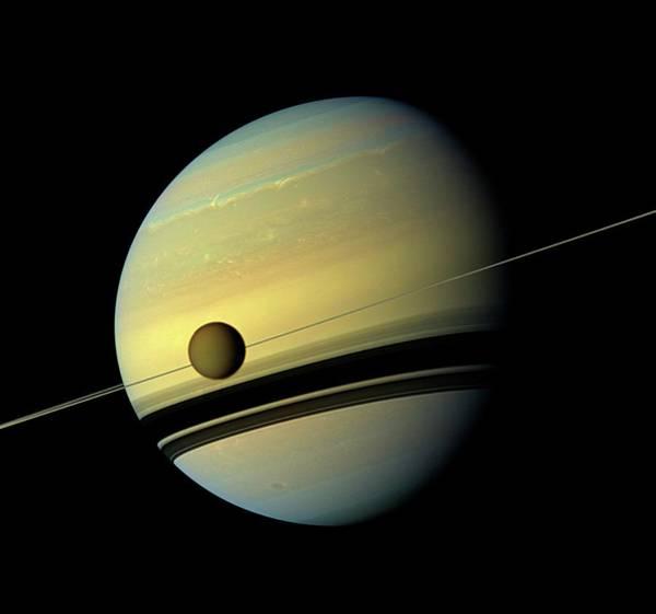 Titan And Saturn Poster