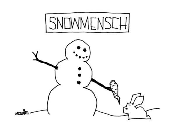 Title: Snowmensch Snowman Hands His Carrot Nose Poster