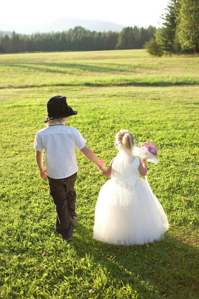 Toddler Couple Dressed As Bride Poster