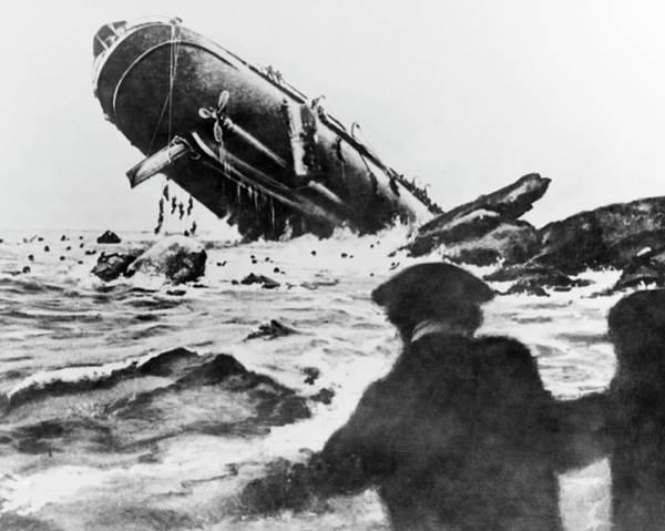 Torpedoed Ship In World War I Poster