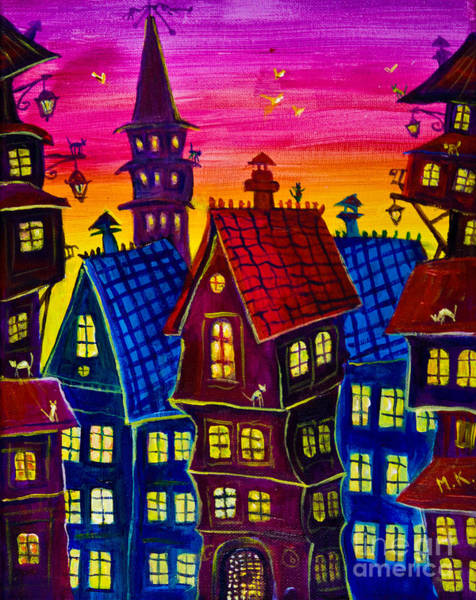 Town At Twilight Poster