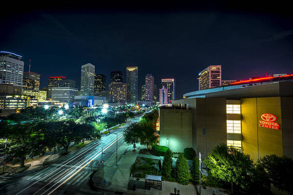 Toyota Center And Downtown Houston Poster