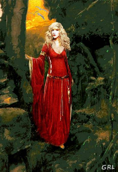 Poster featuring the painting Traditional Modern Original Painting Stevie Nicks Rhiannon by G Linsenmayer