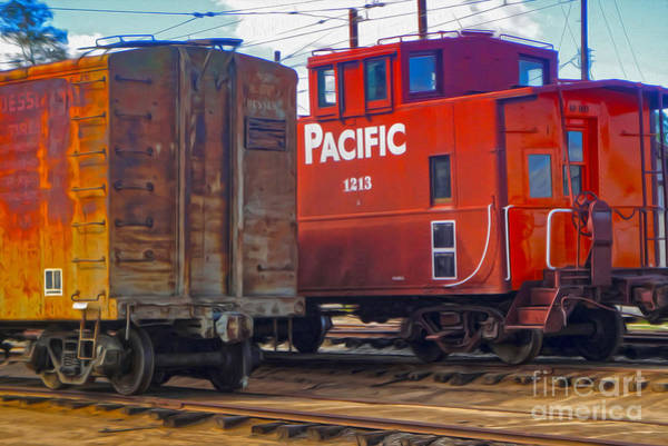 Train Car And Caboose Poster