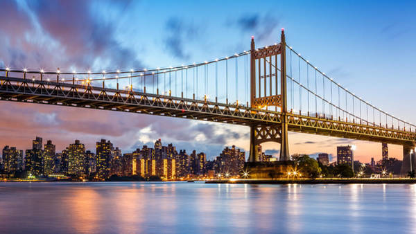 Poster featuring the photograph Triboro Bridge At Dusk by Mihai Andritoiu