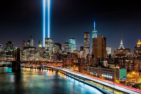 Poster featuring the photograph Tribute In Light Memorial by Mihai Andritoiu