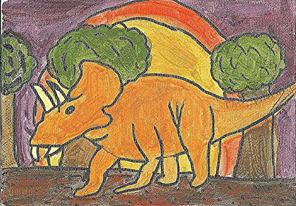 Poster featuring the painting Triceratops by Fred Hanna