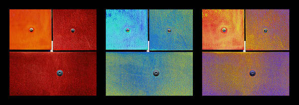 Triptych Red Cyan Purple - Colorful Rust Poster