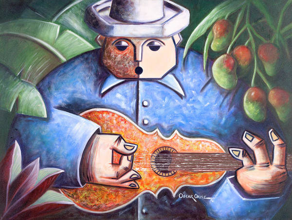 Poster featuring the painting Trovador De Mango Bajito by Oscar Ortiz