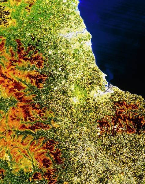 True-colour Satellite Image Of North-east England Poster