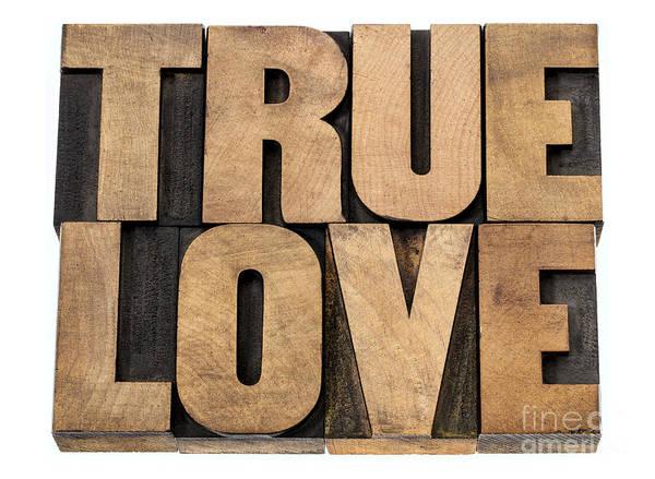 True Love In Wood Type Poster