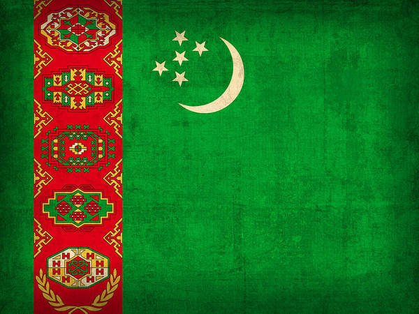 Turkmenistan Flag Vintage Distressed Finish Poster