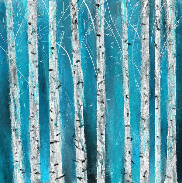 Turquoise Birch Trees II- Turquoise Art Poster