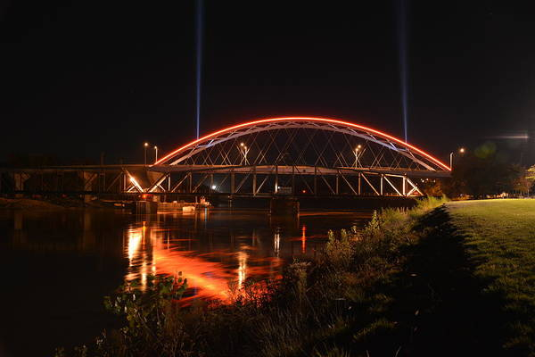 Twin Bridges At Night Poster