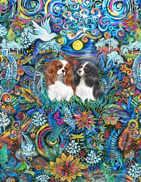 Two Cavaliers In A Garden Poster