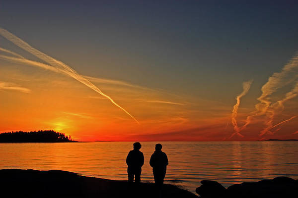 Poster featuring the photograph Two Friends Enjoying A Sunset by Randy Hall