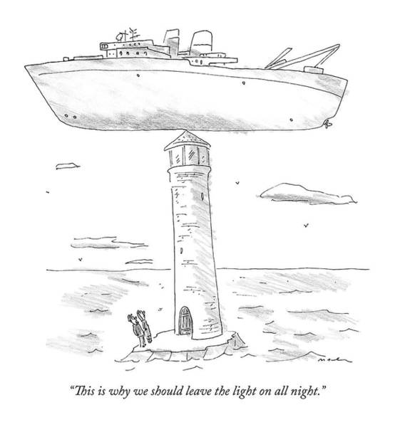 Two Lighthouse Keepers Look Up At A Boat That Poster