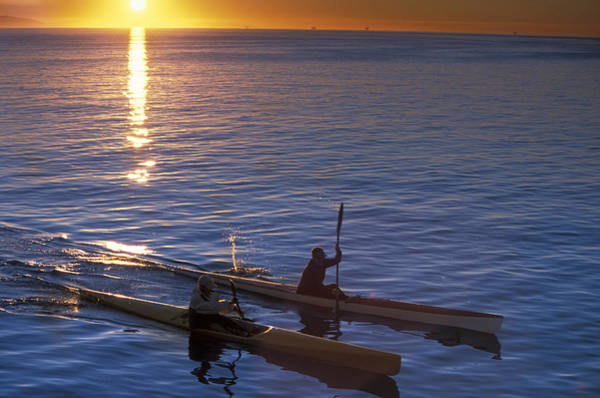 Two Paddlers In Sea Kayaks At Sunrise Poster